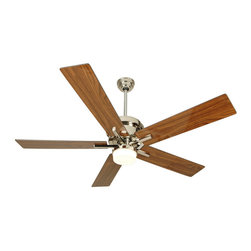 """Craftmade - Craftmade GR52PLN5 Polished Nickel Modern Five Blade 52"""" Modern Retro - Grant 52"""" Modern Retro Ceiling Fan with Light Kit, Remote Control, and Blades Included Craftmade s Grant ceiling fan features a sleek retro look, but the refined lines of this fan are sure to fit in both classic and contemporary environments. A 50 watt Halogen bulb illuminates the optional, included light kit of this fan. For rooms where the light is not needed, streamline the look of your Grant fan by removing the light kit (see Product Multimedia for an image of this look). Operate your fan with the included remote control, or purchase the coordinating wall control for more options. Features  Standard 153 x 15, 3 Speed Reversible Motor Five 52"""" Custom Grant Blades matched to exact weight and perfectly balanced Downrod supplied, 6"""". Additional downrod selections available - sold separately. 30 Year Limited Warranty TCS Remote Control System Available (included)  Optional Light Kit - Included - Requires 1 50w JD type Halogen bulb (included)  Measurements (see Product Multimedia for accompanying line art)  A. Ceiling to Bottom of Light Kit with 6"""" Downrod: 14.125"""" B. Ceiling to Fan Blades 6"""" Downrod: 12.75"""" C. Fan Width: 9.625"""" D. Canopy Width: 5.125"""" E. Motor Housing Height: 5.0"""""""