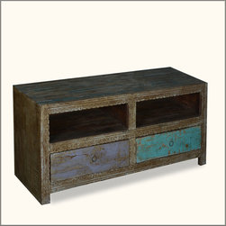 Reclaimed Wood TV Cabinet Media Stand Hand Carved Entertainment Console -