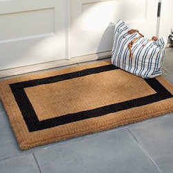 "Picture Frame Double-Wide Doormat, 22 x 57"", Black - Our hand-screened doormats are thickly woven of natural coir. Framed with a bold, dark border, they are elegant and welcoming. Medium Width: 22"" wide x 36"" deep Medium Half Round Width: 22"" wide x 26"" deep Large Door Width: 30"" wide x 48"" deep Double Door Width: 24"" wide x 57"" deep Black border. Thickly woven of naturally durable coir, a fiber derived from the outer husk of coconut shells. Imported."