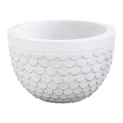 SCALLOPED PLANTER - LARGE - You've found the most perfect, gorgeous plant in the whole nursery, and now you just need the perfect planter to go with. It can't be too busy, since you want the attention directed to your fabulous find, but you don't want anything too plain-Jane either. This cement resin planter has the appearance of marble without the weight. With a beautifully scalloped body and wide band at the top, it's a planter that neither upstages nor fades into the background.