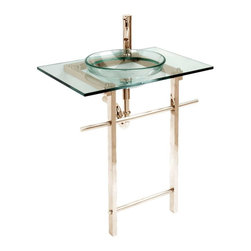 Renovators Supply - Glass Sinks Clear Glass Water Lily Console Sink - Glass Sinks: This tempered glass sink package includes basin, counter, faucet, drain, p-trap and towel bar. See site for detailed product information and measurements.