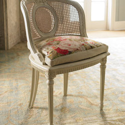 """""""Hannah"""" Chair and Floral Cushion - The fully, hand-crafted """"Hannah"""" Chair with Floral Cushion is practical as it is beautiful.  It's the perfect size to tuck in front of a vanity or into a corner of a bedroom or guest room.  The Aubusson cushion is handwoven. Chair, 17.5""""W x 15.5""""D x 33.25""""T"""
