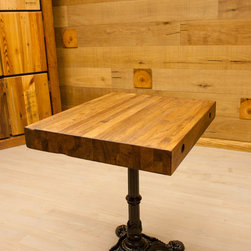 """Reclaimed Oak Edge Grain Bar Table - Top is 30"""" x 24"""" by 3 1/2"""" thick and 31"""" Height."""