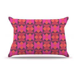 """Kess InHouse - Empire Ruhl """"A Quilt Pattern"""" Pink Red Pillow Case, Standard (30"""" x 20"""") - This pillowcase, is just as bunny soft as the Kess InHouse duvet. It's made of microfiber velvety fleece. This machine washable fleece pillow case is the perfect accent to any duvet. Be your Bed's Curator."""