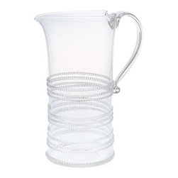 """Juliska - Juliska Ella Large Pitcher Clear - Juliska Ella Lg. Pitcher Clear. Three avenues of threads whirl around this pitcher for a touch of geometric abandon that is complemented by an elegant handle. Dimensions: 9.5"""" H Capacity: 1.75 Qt"""