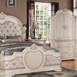 Luxurious Bedroom Collection - Cosmos INFINITY Button Tufted Leather Headboard With Decorative Trims Antique White Finish Sleigh Bed With Matching Marble Top Casegoods