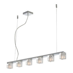 ET2 Contemporary Lighting - ET2 Contemporary Lighting E22034-18 Blocs 6 Light Island Lights in Polished Chro - The building blocks of style, these best-selling lighting components come in a wide variety of applications for the most innovative illumination solutions. The adjustable ceiling lamp configuration boasts thick, square crystal fixtures that are clear outside and frosted inside to encase G9 lighting elements. Light blocks are anchored to a reflective square chrome frame that reflects their simple elegance. Perfectly suited for singular or multiple applications where understated elegance is the preferred solution.