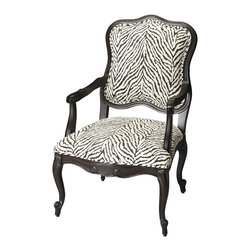 "Butler Furniture - Zebra Pattern Jacquard Accent Chair - It's ""The Call of the Wild."" If animal prints are part of your design aesthetic, you'll want this chair. The hand carved, solid wood construction and graceful, flowing lines will accent any room."