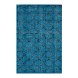 Nuloom - nuLOOM Hand-knotted Moroccan Trellis Blue Wool Rug (4' x 6') - Woven with pure wool,these Moroccan trellis rugs are hand-knotted with the most up to date colors for today's fashion forward interiors.