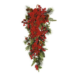 Nearly Natural - Poinsettia Teardrop - Not for outdoor use. Perfect for the holidays. Adorned with poinsettia blooms, pinecones and berries. Perfect for any wall, door or mantel. . Included container size: . Made of: Polyester material, plastic18 in. W X 8 in. D X 30 in. H (3lbs)Cascading from its hanging loop, our poinsettia teardrop is at home on a wall, door, or mantel. Large poinsettia blooms with glistening centers anchor this delightful holiday accent piece. Realistic evergreens, pinecones and berry sprays tucked around the traditional holiday flowers make for a life-like and unique decoration.