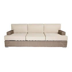 Palisades Sofa, Canvas Taupe (Pillow) - Our Palisades Sofa reflects style, class and comfort. The low arm is perfect to place your beverage or snack on as you relax on the custom made plush cushion that is manufactured in the USA from all weather resistant Sunbrella fabric, a high density foam and wrapped in durable Dacron for extra comfort. With comfort like this you will certainly feel you have brought the indoors outside.