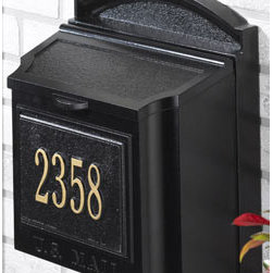 "Whitehall Wall-Mount Mailbox, Black - A classic mailbox is a great way to introduce an ""always-there"" look. It adds character to those cookie-cutter suburban homes."