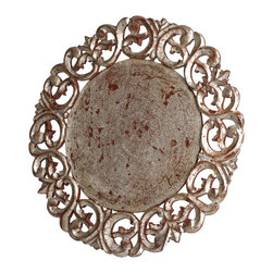 Abigails - Vendome Round Placemat, Silver, Set of 4 - If your needs call for the cool sophistication of silver to enhance your table, this silver leaf placemat is ideal. Slight antique rubbing pulls the look together.