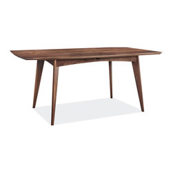 Ventura table - With its elliptical shape, splayed tapered legs and reverse-beveled edge, the Ventura dining table has a light, mid-century look that belies its solid wood construction.