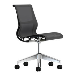 Herman Miller - Setu Chair, No Arms - This stylish, elegant chair will be a welcome addition to your office. The four curves fit and support your body without needing adjustments. It's intuitive, and bends and reclines with your body's motion enabling you to sit for hours. The armless construction allows it to slide easily under a desk or table.