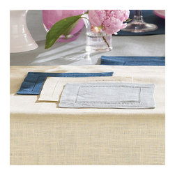 Frontgate - SFERRA Festival Set of 4 Cocktail Napkins - 100% medium-weight linen. Placemats and napkins sold in sets of four. Find your size tablecloth with our measuring guide.. Machine wash gentle cycle with gentle detergent. Dinner and cocktail napkins come in non-monogrammed or monogrammed styles. Woven in Europe and sewn with an elegant hand thread-drawn hemstitched hem, our SFERRA Festival Table Linens come in a range of bold, luscious colors that are sure to complement your favorite dinnerware.  .  . .  . . Made in Italy by SFERRA. Please note: Personalized items are non-returnable.
