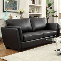 Coaster - Lois Sofa, Black - Perfect for small spaces and contemporary homes, our Lois collection offers a slanted double arm sofa that's not only stylish, but provides great lumbar support with its slanted back. With a comfortable higher arm rest, fiber filled back cushions and a wood frame, this collection is sure to bring comfort and style to your living room. Pair this contemporary sofa collection with a glass top occasional group (#701637-701638).