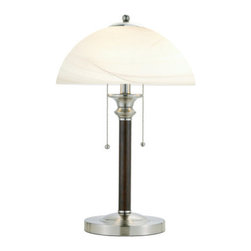 """Adesso - Adesso 4050-15 Lexington Table Lamp - Each Lexington lamp has a dark walnut wood body with satin steel accents and base. The frosted glass shade is anchored by a satin steel cap with matching finial. Two sockets each have ball-accented pull chain. 2 x 60 Watt. 24"""" Height, 8.5"""" Round base. Shade: 6"""" Height, 13.5"""" Diameter.   About Adesso  Adesso was established in 1994, with the vision and belief that consumers who sought high-end contemporary home products at affordable prices would be able to do so. �Adesso has been able to redefine residential spaces with its innovative, well-designed and well priced products. They have integrated an array of colors and materials in the design of their products to include renewable bamboo, cork, glass, resin, woven fabric, rice-paper and even metals.� Adesso is shaping the future of home design and they�re driven by the simple idea that your home is a canvas."""