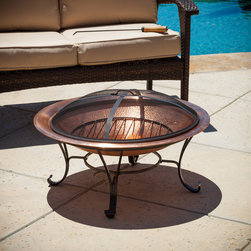 None - Marconi Copper Fire Pit - For added fun and warmth to your backyard,look no further than this Marconi copper fire pit. With a beautiful copper fire pit and iron lid and legs,this piece will complement any outdoor decor.