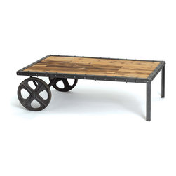 Go Home - Warehouse Transfer Cart - These striking coffee tables beautifully complement any decor - city or country. Superbly crafted with vintage wheels and reclaimed wood tops, these are pieces you can feel good about. Mix and match with other items from our Urban Loft or Rural Chic collections to fill your home with comfortable style!
