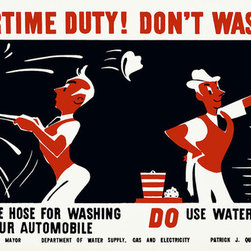 Your Wartime Duty! Don't Waste Water Print - Your Wartime duty! Don't waste water Do not use hose for washing your automobile. Do use water from a pail, created by Earl Kerkam for the Federal Art Project, NYC WPA War Services, between 1941 and 1943. Original is a color silkscreen.