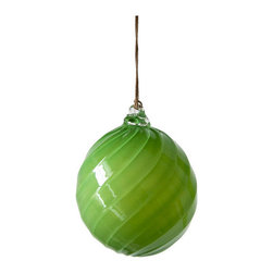 Working Man Hand Made - Bright Green Holiday Ornament, Ball - All of our holiday ornaments are made using traditional Italian glass blowing techniques accentuated by bright and festive colors. Our line of transparent ornaments will brighten your holiday season!