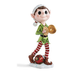 Frontgate - Pixie Horn Elf - Outdoor Christmas Decorations - Crafted of nonfading, hand-painted resin. Sit just as easily in a snow-filled lawn as they will on the front porch. Whimsicle addition to your outdoor display. Decorate your walkway with a parade of melodious Pixie Elves – each with their own musical instrument in hand. Their pointed ears, rosy cheeks, wide-eyed expressions endear them to passersby.. .