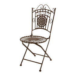Oriental Furniture - Wrought Iron Garden Chair - Rust Patina - This elegant wrought iron chairs brings the skilled craftsmanship of an earlier era to the next generation. This chair features a realistic faux-rust patina for an authentic antique look and feel, and the delicate wrought iron is both springy and comfortable. Designed with your convenience in mind, this lightweight chair can be folded for hassle-free moving and storage. Perfect for bringing a heritage heirloom accent to your decor, this garden chair looks equally lovely in the living room, patio, or yard.