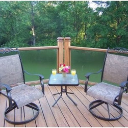 Oakland Living Cascade Swivel Chat Set - When you and your partner want to enjoy the views from your patio or deck, the Oakland Living Cascade Swivel Chat Set is the perfect vehicle. Morning mimosas, evening sunsets, or tete-a-tetes any time of day can all be enjoyed in these comfortable swivel chairs. With the convenient side table, everything you need is close at hand. Part of the Sling collection by Oakland Living, the chairs are outfitted with durable sling material that securely cradles you while allowing your body to breath, and the stylish scrollwork on the seat back and the foliate design of the sling material will pair beautifully with any home exterior. This set is hand cast to ensure lasting quality with an attractive coffee-colored finish that won't fade, chip, or crack. Cheers!