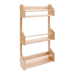 "Hardware Resources - Spice Rack for 15"" Wall Cabinet. - Spice Rack for 15"" Wall Cabinet.  9 1/2"" x 4"" x 24"".  Inside shelves are 8 1/2"" wide.  Species:  Hard Maple."