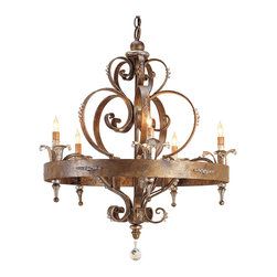 Kathy Kuo Home - Linz Swarovski Crystal Scrolled Iron 5 Light Chandelier - Touches of Swarovski crystal highlight this vintage luxe design. Bold scrolls embellished with crystal beading add further illumination to the five lights of this gold leaf crystal chandelier.