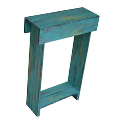 Aqua Skinny Wall Table - This piece of furniture will brighten up your day and any space that needs some life. Use as an entry way table, media table, bedside table and more. The dimensions measure 24L x 9W x 36H and has an aqua distressed finish with subtle pops of orange and yellow throughout. Very sturdy. You will love this piece!