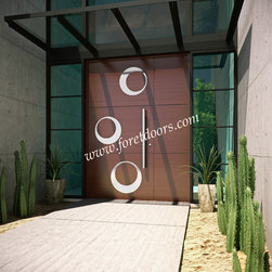 Modern front entry doors / contemporary front entry doors - Solid wood modern entry door with stainless steel inserts and stainless steel pull