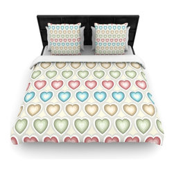 "Kess InHouse - Julia Grifol ""My Hearts"" Multicolor Cotton Duvet Cover (Twin, 68"" x 88"") - Rest in comfort among this artistically inclined cotton blend duvet cover. This duvet cover is as light as a feather! You will be sure to be the envy of all of your guests with this aesthetically pleasing duvet. We highly recommend washing this as many times as you like as this material will not fade or lose comfort. Cotton blended, this duvet cover is not only beautiful and artistic but can be used year round with a duvet insert! Add our cotton shams to make your bed complete and looking stylish and artistic!"
