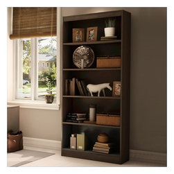 "South Shore - South Shore Axess 5 Shelf 71""H Wood Bookcase in Chocolate - South Shore - Bookcases - 7259768 - The Axess Bookcase is constructed from laminated engineered wood and has a warm chocolate finish. It features three adjustable shelves and two fixed shelves for all your storage needs. With a sleek contemporary styling, the functional and attractive Axess Bookcase offers a lasting appeal you will enjoy for many years."