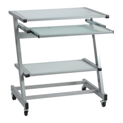 Euro Style - Z Computer Cart - Aluminum/Frosted Glass - With the Z shaped legs and base, this cart fits in well with the rest of the Z collection. The top surface has room for a monitor and your office sundries. Below that is a sliding keyboard tray. And below that is another sliding tray for a printer, storage, or other office essentials.