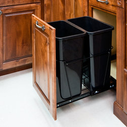 Hardware Resources - 35-Quart Double Pullout Waste Container System - 35 Quart Double Pullout Waste Container System.  14 1/2  x  22    Full Extension Ball Bearing Slides.   Heavy Duty Black Wire Construction.   35qt black polymer trash can sold separately.   Designed for use with 13 gallon tall kitchen trash bags.   Mounts to Floor of Cabinet.  Door Mountable (kit sold separately).  Mounting Hardware and Instructions Included.   For standard 18 cabinets.