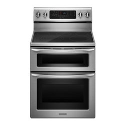 """KitchenAid - Architect Series II KERS505XSS 30"""" Freestanding Double Oven Range with 5 Burners - Prepare multiple dishes simultaneously - even at different temperatures Two ovens allow you to bake a pie in the quick-heating upper oven roast a turkey in the spacious lower oven or both at the same time"""