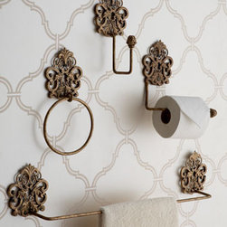 Antiqued Gold Bathroom Decor - Handcrafted of iron and tole, these beautiful hanging accessories for the bath will keep everything you need close at hand.