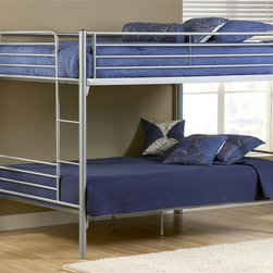 Hillsdale - Universal Youth Full over Full Bunk Bed in Si - NOTE: ivgStores DOES NOT offer assembly on loft beds or bunk beds. Includes deck and rails. Mattress not included. 80.5 in. L x 56.5 in. W x 66.5 in. H. Bunk Bed Warning. Please read before purchase.The Silver and Navy Universal youth bedroom offers super solutions for any kids room, whether you choose the traditional bed, the bookcase headboard with under bed storage, the Loft bed or bunk beds. Add any combination of case goods to create the perfect home base for your child, tween or teen.