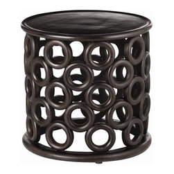 Kamal Side Table - Hand crafted from dark walnut, this side table is full of character.