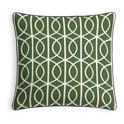 Green Modern Trellis Micro Corded Throw Pillow - Every decorator knows: it's the details that make a room.  That's why we love the Microcord Throw Pillow with a thin piped edge that adds just a hint of color.  We love it in this rounded trellis in emerald green & white on soft lightweight line. your gateway to a chic modern look.