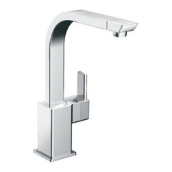 Moen - Moen S7170 Chrome 90 Degree Single Handle Kitchen Faucet from the 90 - Product Features:Faucet body constructed of metal to ensure durability and dependabilityCovered under Moen s limited lifetime faucet warrantyFinishes resist corrosion and tarnishing through everyday use - finish covered under lifetime warrantyWith its ultra-contemporary styling, 90 Degree brings a clean, minimalist aesthetic appeal to any homeMoen sets the standard for exceptional beauty and innovative reliable designSingle handle operation for ease of useSpout swivels 360-degrees providing greater access to more areas of the sinkHigh-arch gooseneck spout design provides optimal room under the faucet for any size taskADA compliantLow lead compliant - faucet meets federal and state regulations for lead contentProduct Technologies / Benefits:Duralast Cartridge: An exciting new proprietary cartridge design that offers a smooth feel and reliable operation of a new faucet from the first use to the last use. This new cartridge combines innovative engineering and the highest quality materials. It surpasses conventional durability standards to withstand the toughest conditions, including hard water.LifeShine Non-Tarnish Finish: Moen LifeShine finishes are guaranteed not to tarnish, corrode or flake off for the duration of their life. Providing the durability and wearability of chrome in a variety of beautiful, decorator-inspired finishes. The LifeShine finish is in the surface rather than on it, resulting in color stability for a lifetime. The PVD technique used also helps to eliminate hazardous by-products during manufacturing.Eco-Friendly Performance: To help make a difference on a global scale and further its role as industry leaders in eco-performance practices, Moen has established partnerships with a number of environmental organizations, including WaterS