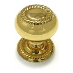 Richelieu Hardware - Richelieu Classic Brass Hollow Rope Trim Knob/ Backplate 25mm Brass - Richelieu Classic Brass Hollow Rope Trim Knob/ Backplate 25mm Brass