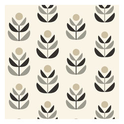 Brewster Home Fashions - Oslo Black Geometric Tulip Wallpaper Bolt - Treated to fine designer precision this geometric tulip fuses Scandinavian influence and modern charm inspiring an exceptionally chic wall covering in a luxe black grey and cream color palette.