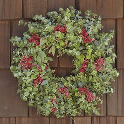 Live Eucalyptus & Red Berry Wreath
