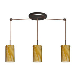 Besa Lighting - Besa Lighting 3BB-4404HN-HAL Stilo 3 Light Halogen Linear Pendant - Stilo 7 is a classic open-ended cylinder of handcrafted glass, a shape that will stand the test of time. This unique decor is handcrafted, with layered swirls of yellow-amber and golden-brown against white, finished to a high gloss. It's classic swirl pattern and high gloss surface has a truly florid gleam. Honey is a hand-blown glass designed to have a shiny and polished finish. The glass is gathered and rolled into shape a unique pattern is formed that cannot be replicated. This blown glass is handcrafted by a skilled artisan, utilizing century-old techniques passed down from generation to generation. Each piece of this decor has its own unique artistic nature that can be individually appreciated. The cord pendant fixture is equipped with three (3) 10' SVT cordsets and a 3-light linear canopy, two (2) suspension stemhooks included.Features:
