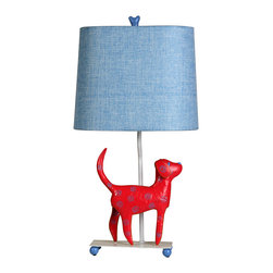 Stylecraft - Stylecraft L11084DS Mini Iron Dog Lamp, (Red Dog, Blue Shade) - Stylecraft L11084DS Mini Iron Dog Lamp, (Red Dog, Blue Shade)