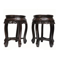 Golden Lotus - Pair Chinese Rosewood Huali Round Carving Stool - This is a pair of traditional Chinese round stool made of Chinese rosewood - Huali. It is a good quality wood with dense texture and beautiful wood pattern.