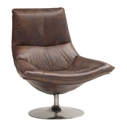 Kathy Kuo Home - Kasper Industrial Leather Masculine Swivel Accent Chair - Sink into supple, luxurious leather and feel the stress of the day melt away. Upholstered in rich, beautiful brown, the sumptuous chair swivels for just the right position, whether in front of a desk, next to a bookshelf or grouped in a conversation nook. A round, polished stainless steel base complements the natural grain of the handsome hide.